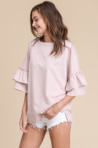 Pink RUFFLE TRIM DOUBLE SLEEVE TOP