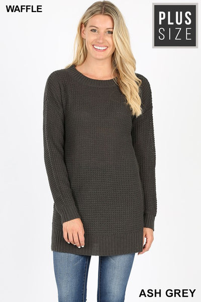 CURVY - LONG SLEEVE ROUND NECK WAFFLE SWEATER