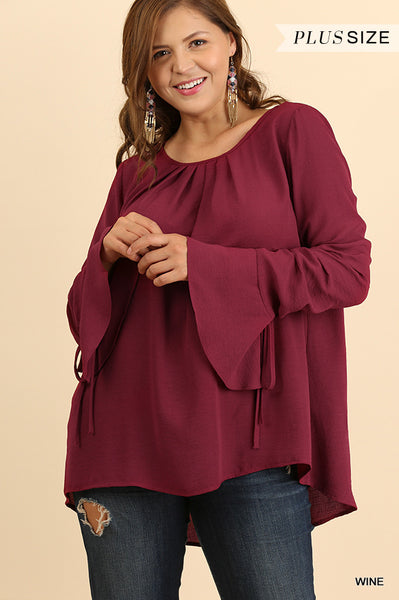 Bell Sleeve Top with Scalloped Hem and Drawstring Details on Wrist