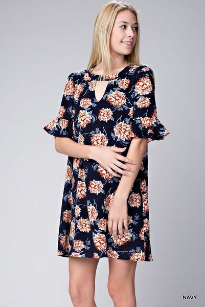 Floral dress with front and back keyhole detail