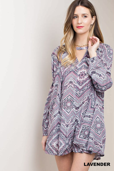 CRINKLE FABRIC TUNIC WITH BUTTON DETAIL
