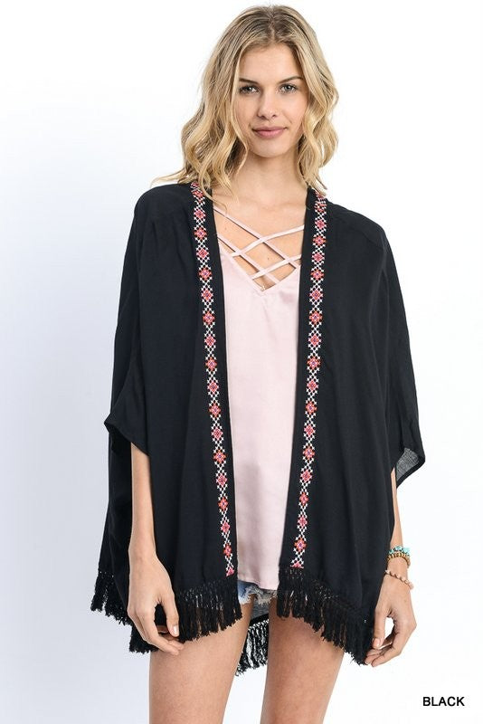 Solid kimono, cardigan with three quarter dolman sleeves & embroidery detail