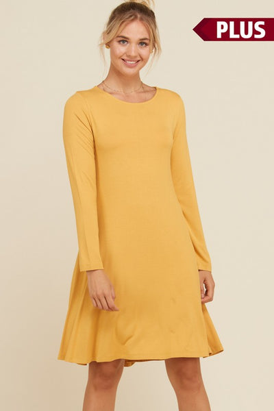 Curvy - Round Neck Swing Plus Dress with Side Pockets