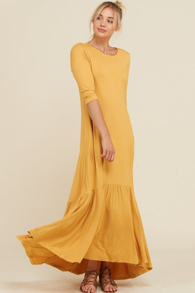 3/4 Sleeves Swing Hi Lo Maxi Dress with Pockets