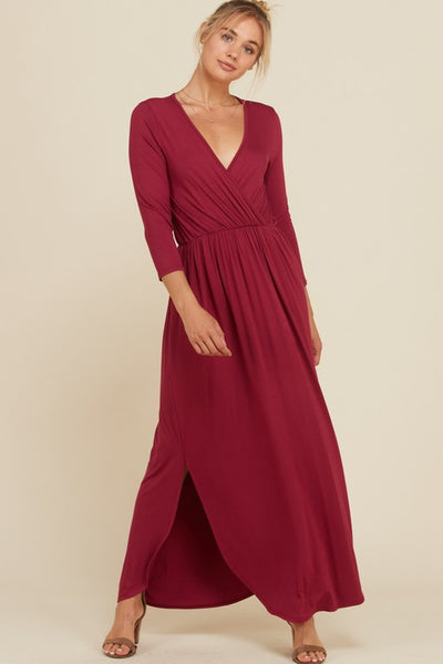 V-Neck 3/4 Sleeves Elastic Waist Maxi Wrap Dress