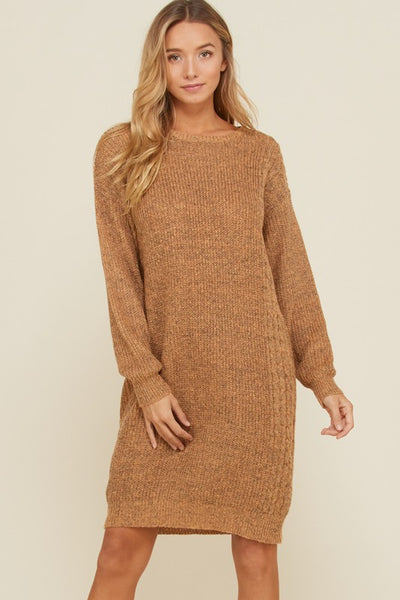 Crotchet Round Neck Pullover Sweater Dress