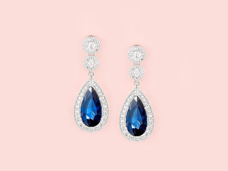 Contessa Earrings - Sapphire