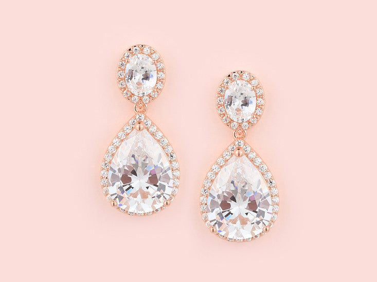 Halo Earrings - Rose Gold