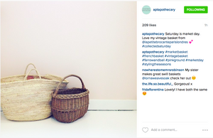 """Love my vintage basket from La Petite Brocante"" Katy, Apartment Apothecary"