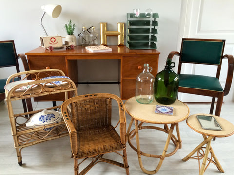 Vintage rattan 1950s interiors group Jan16