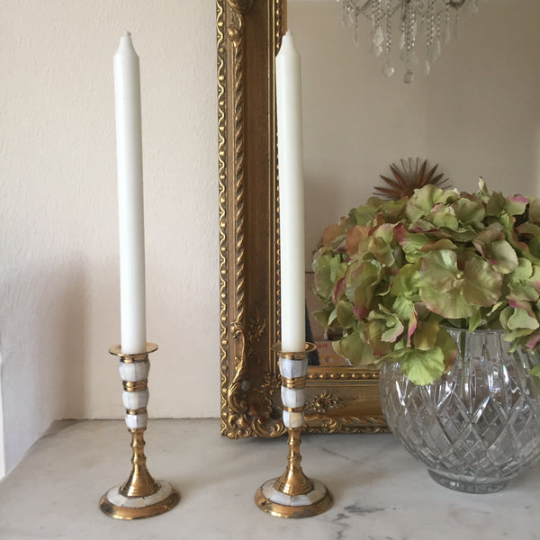 Vintage Mother of Pearl Candle Holder - Paire de Chandeliers Vintage Laiton et Nacre - Free delivery UK - Livraison gratuite France