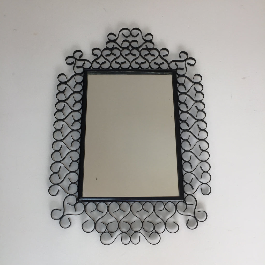 Vintage French Black Metal Lace Mirror Chaty Vallauris- Miroir Vintage Metal Noir Dentelle Chaty Vallauris - Free delivery UK - Livraison gratuite France