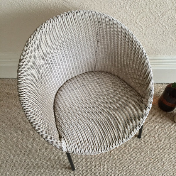 A Lloyd Loom Vintage Wicker Chair 1950s - Chaise Lloyd Loom Osier et Metal - free delivery UK/France