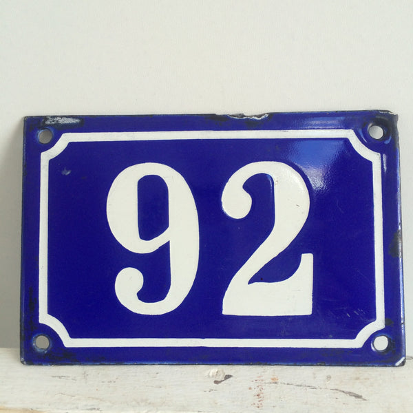 A French Blue Enamelled House Number Plate 92 - Ancienne Plaque Emaillee 92- Free delivery UK - Livraison gratuite France