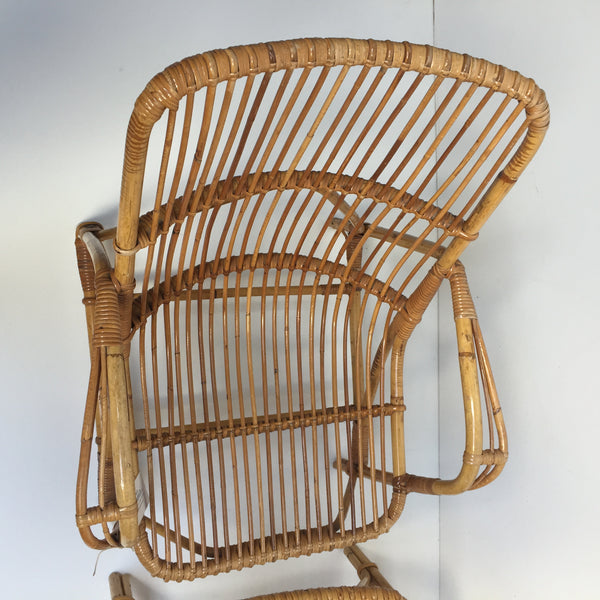 Pair of Vintage Wicker Rattan Chairs - Paire de Fauteuils en Rotin Vintage - Free Delivery UK-Livraison Gratuite France