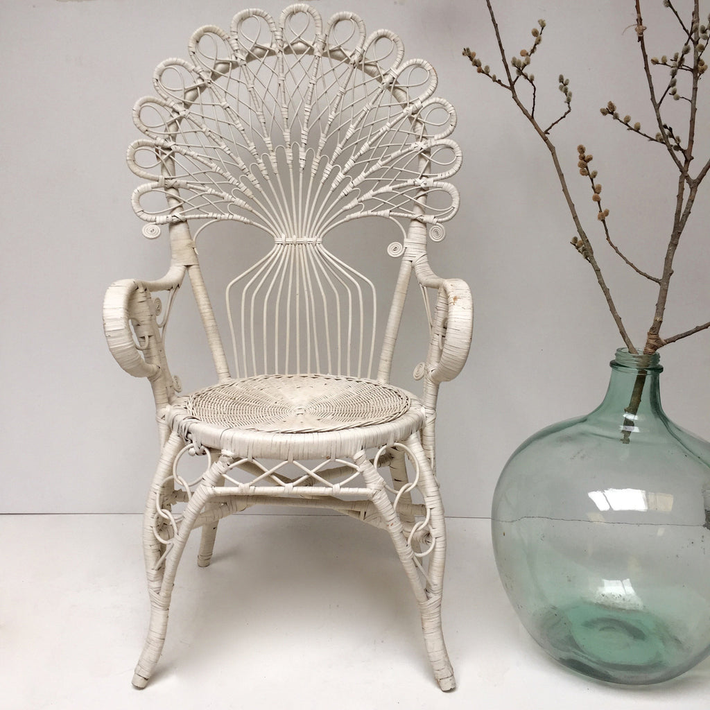 Vintage Boho Peacock 1970s White Wicker Chair Free Delivery