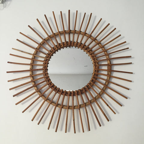Authentic French Vintage Wicker Sunburst Mirror - Miroir Soleil Vintage Rotin - Free Delivery UK-Livraison Gratuite France