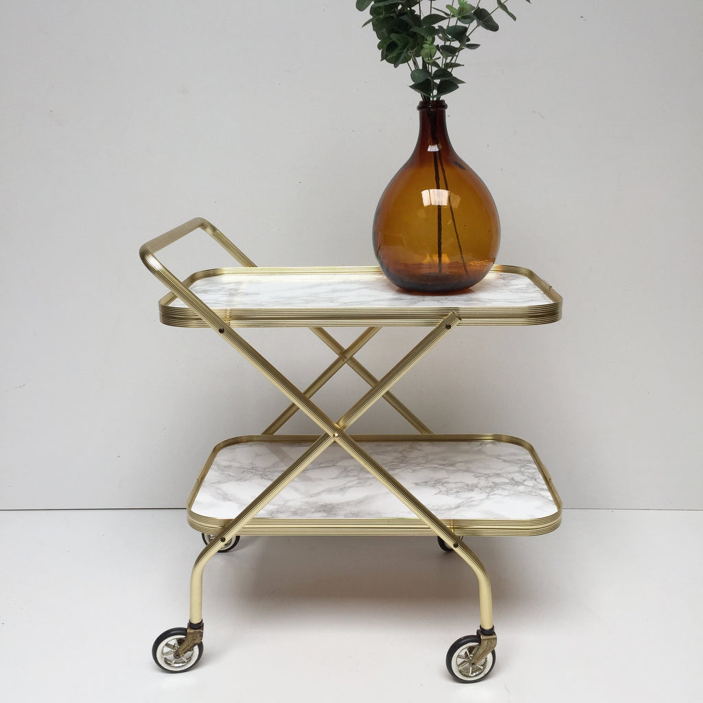 retro vintage foldable hostess trolley desserte pliante table roulante effet marbre et or free. Black Bedroom Furniture Sets. Home Design Ideas