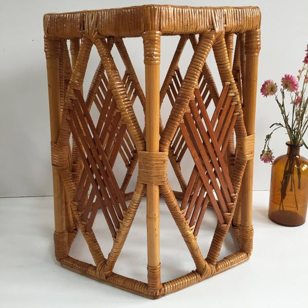 Vintage Boho Wicker Stool - Tabouret Vintage Rotin Bohème - Free Delivery UK & France