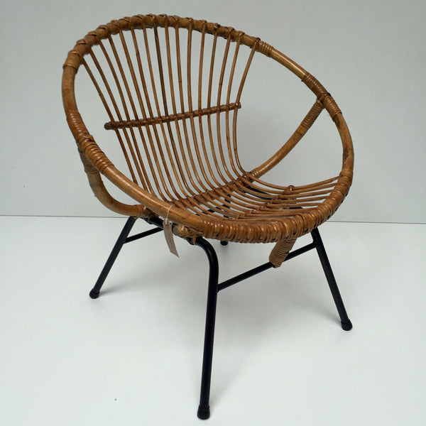 1960s Vintage Rattan Wicker Adult Chair Metal Feet - Fauteuil Rotin Coquille Adulte Vintage Pieds Metal- Free Delivery UK-Livraison Gratuite France