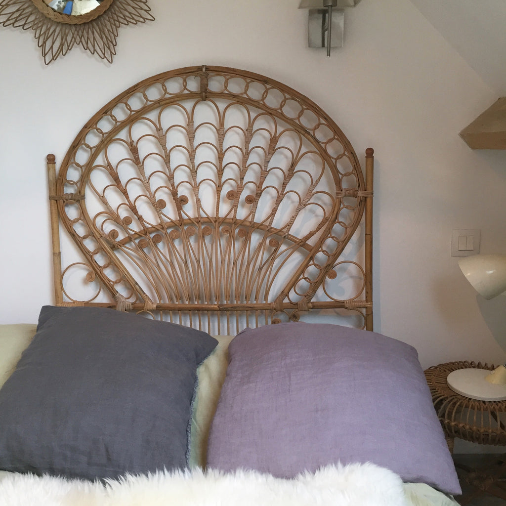 vintage boho peacock wicker single headboard free delivery uk tete la petite brocante. Black Bedroom Furniture Sets. Home Design Ideas