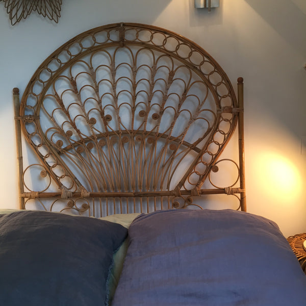 Vintage Boho Peacock Wicker Single Headboard (free delivery UK)- Tete de Lit Simple Peacock en Rotin Vintage Boheme Volutes (livraison gratuite en France)