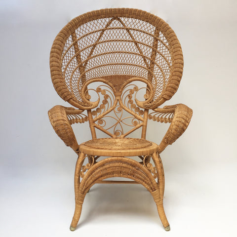 Vintage Boho Peacock Wicker Rattan Chair - Grand Fauteuil Rotin Vintage Peacock Volutes - Free Delivery UK-Livraison Gratuite France