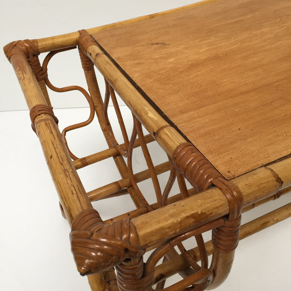 A Vintage French Rattan Wicker Coffee Table - Table de Salon Vintage Rotin - Free delivery- Livraison Gratuite
