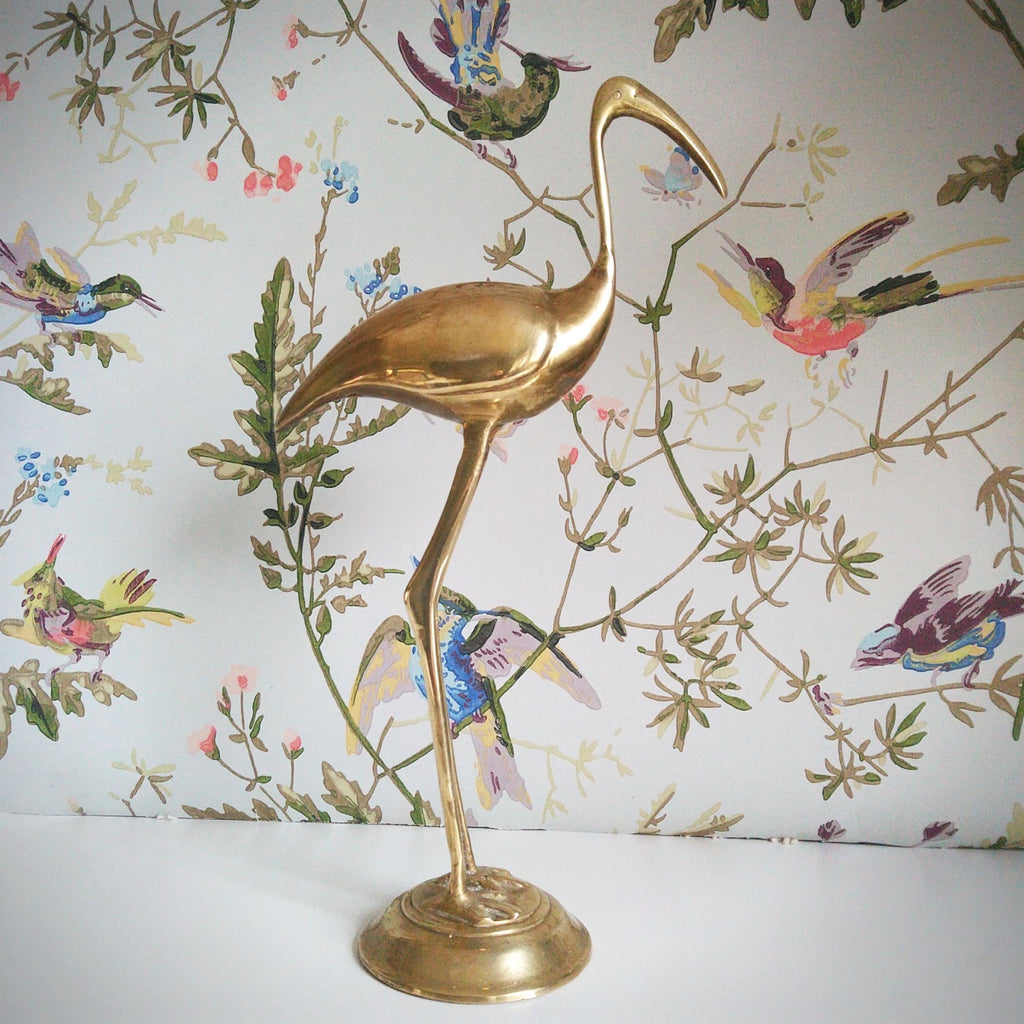 Large Retro Vintage Brass Heron - Grand Heron Laiton Vintage - Free delivery UK - Livraison gratuite France