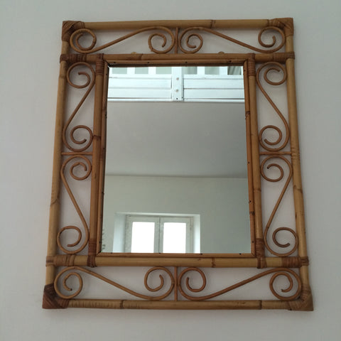 Vintage Bamboo Wicker Rectangular Mirror - Miroir Rectangulaire Vintage Rotin Bambou- Free Delivery UK-Livraison Gratuite France