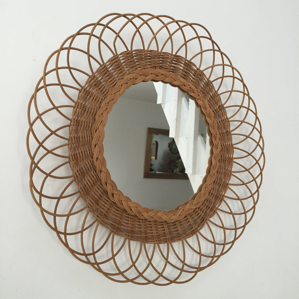 Amante Authentic French Vintage Wicker Mirror - Miroir Soleil Vintage &GH_23