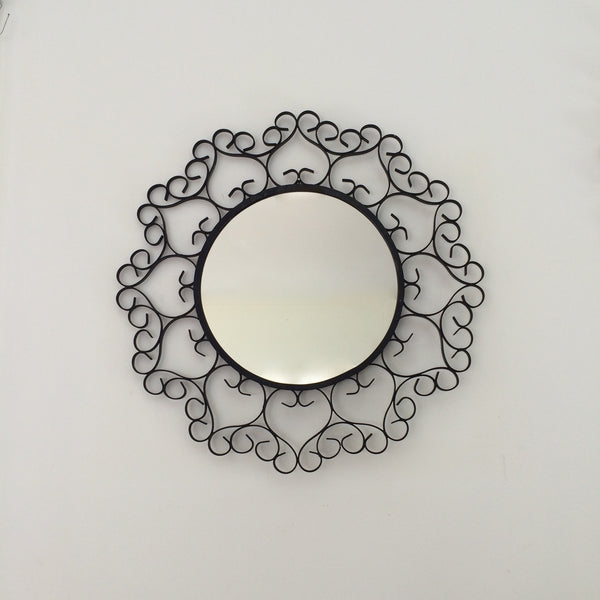 Vintage French Black Metal Lace Round Mirror - Miroir Vintage Rond Metal Noir Dentelle - Free delivery UK - Livraison gratuite France