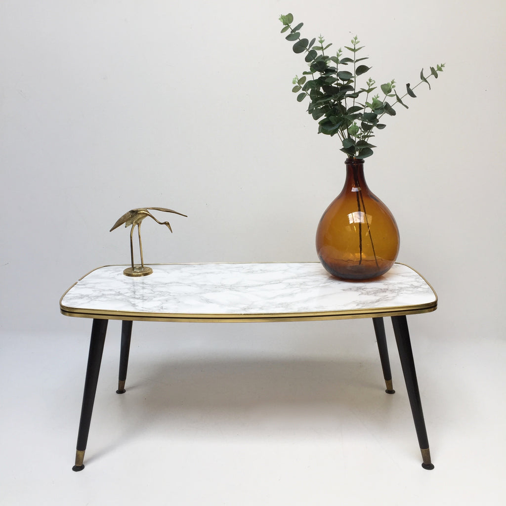 Marble Effect Coffee Table: 90cm Marble Effect Vintage Coffee Table 1950s