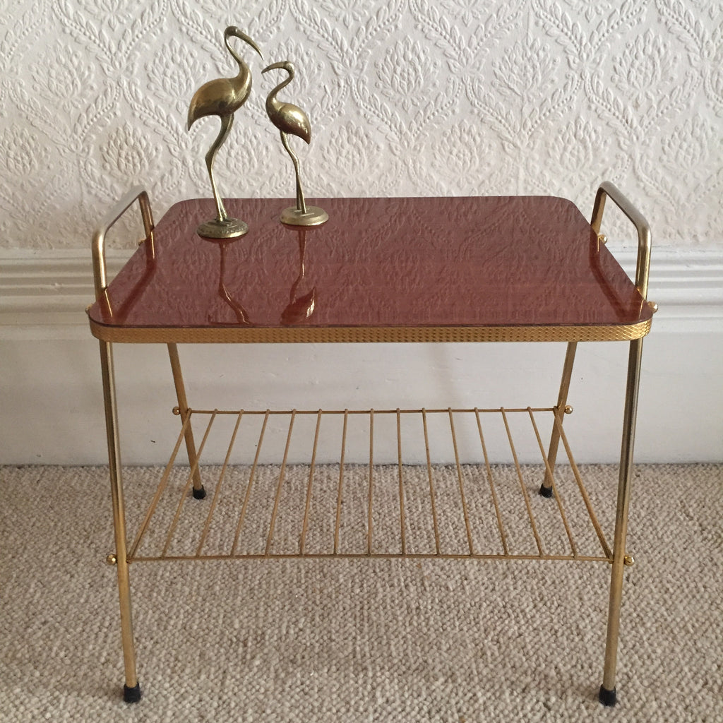 french retro vintage vinyl rack rolling table- table roulante