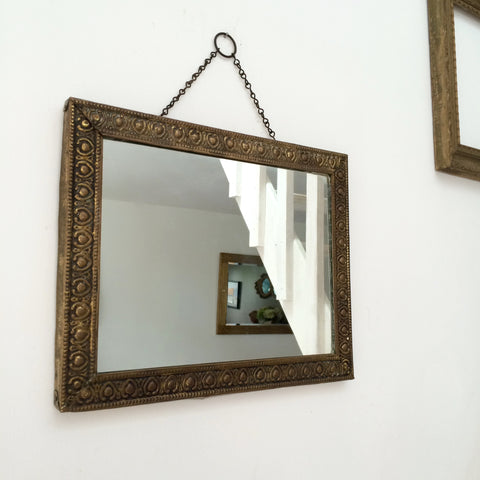 Vintage Metal Bronze Rectangular Mirror - Miroir Rectangulaire Vintage Metal Bronze- Free Delivery UK-Livraison Gratuite France