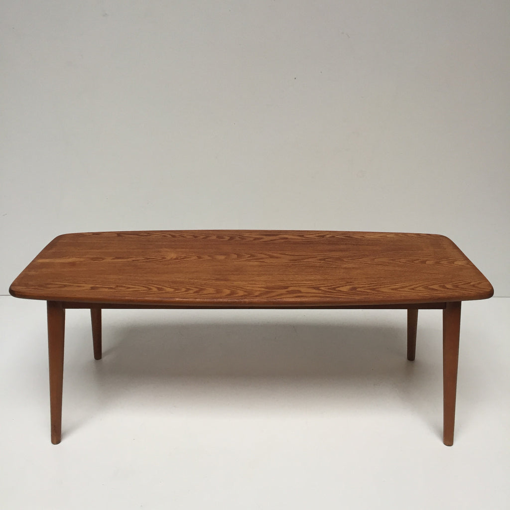 Vintage mid century wood coffee table 1950s table basse for Table basse bois