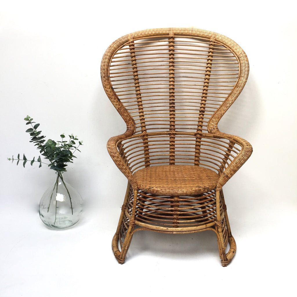Vintage 1970s Wicker Chair - Fauteuil Emmanuelle Vintage - Free delivery UK- Livraison Gratuite France