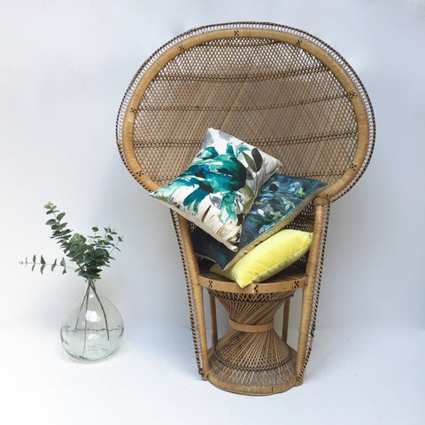 Vintage Peacock 1970s Adult Emmanuelle Wicker Chair -Fauteuil Emmanuelle Vintage - Free delivery UK- Livraison Gratuite France