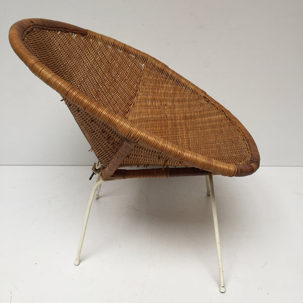 1960s Retro Rattan Wicker Satellite Chair- Fauteuil Satellite Rotin Osier Retro Annees 60 Pieds Metal- Free Delivery UK-Livraison Gratuite France