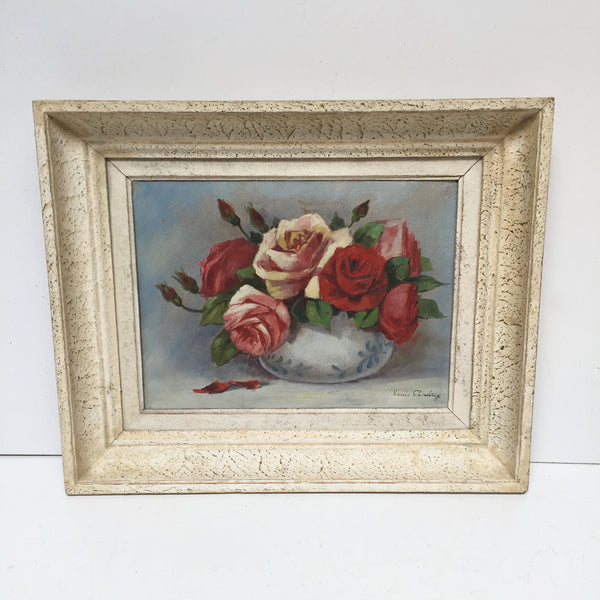 Charming Vintage French Old Oil Painting Roses - Charmante Peinture Huile Roses - Free delivery UK France