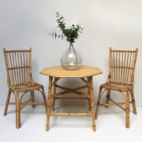 1970s Vintage Wicker Dining Table With 2 Chairs - Table A Manger et 2 Chaises Vintage Rotin 70 - Free Delivery UK - Livraison Gratuite France