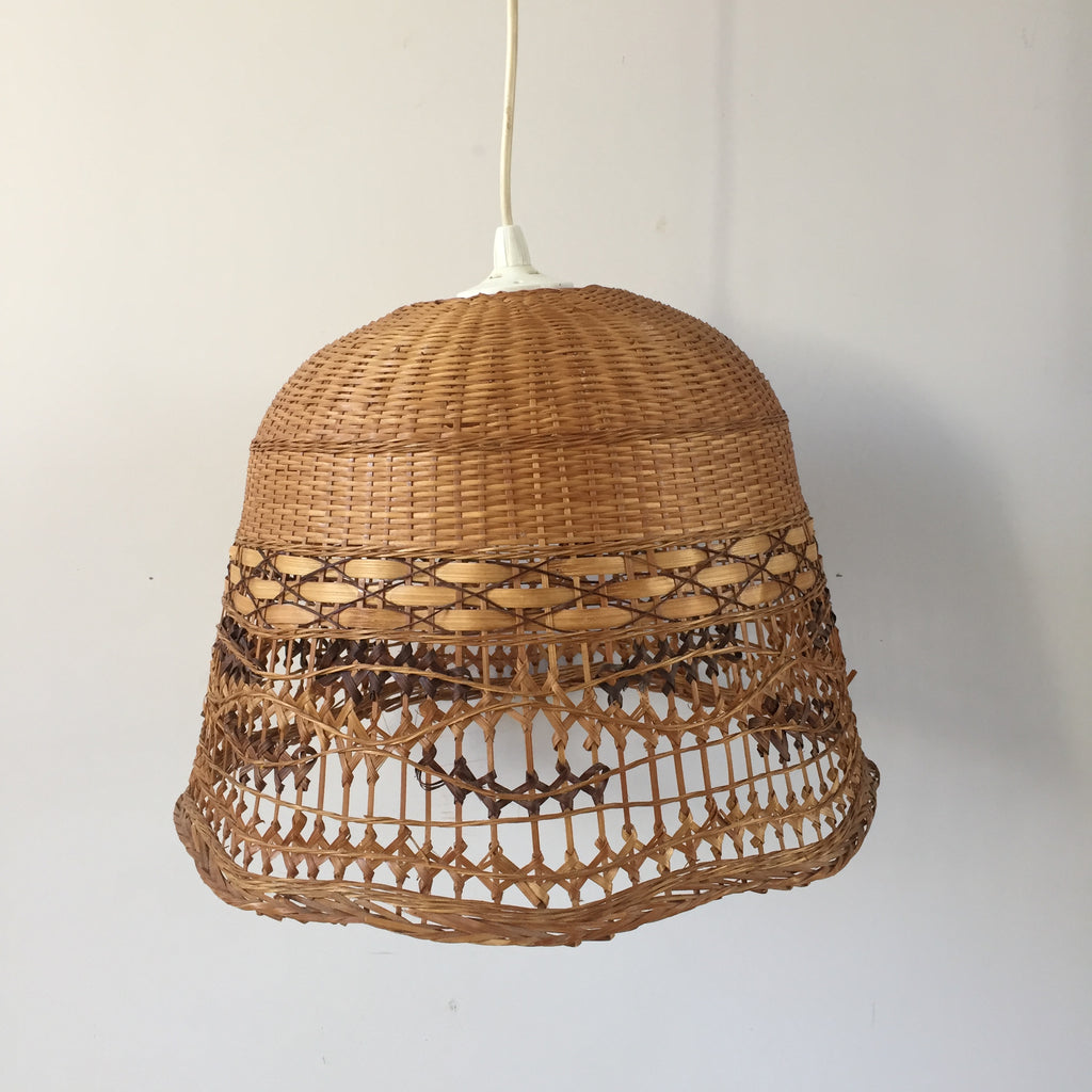 retro vintage wicker lamp shade abat jour rotin osier. Black Bedroom Furniture Sets. Home Design Ideas