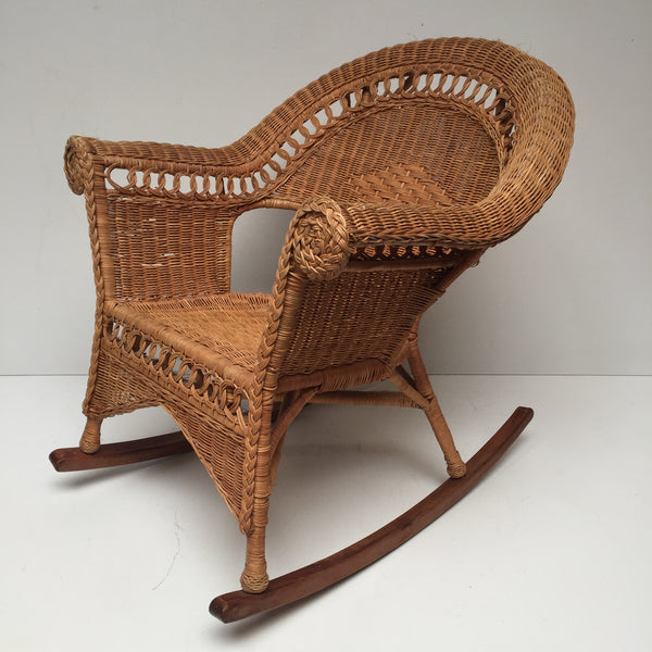 Vintage Rattan Wicker Boho Adult Rocking Chair - Rocking Chair Adulte en Rotin Osier Vintage- Free delivery UK - Livraison Gratuite France