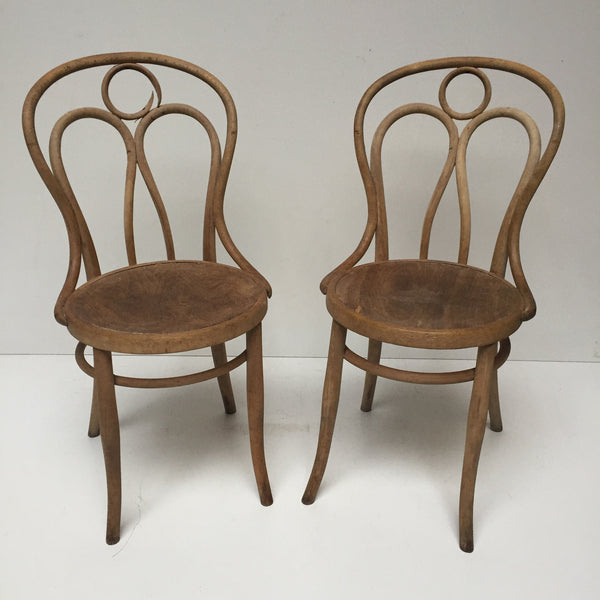 Pair of 1910s Bentwood Bistrot Chairs - Paire de Chaises Bistrot 1910 Bois Courbe - Free Delivery UK-Livraison Gratuite France