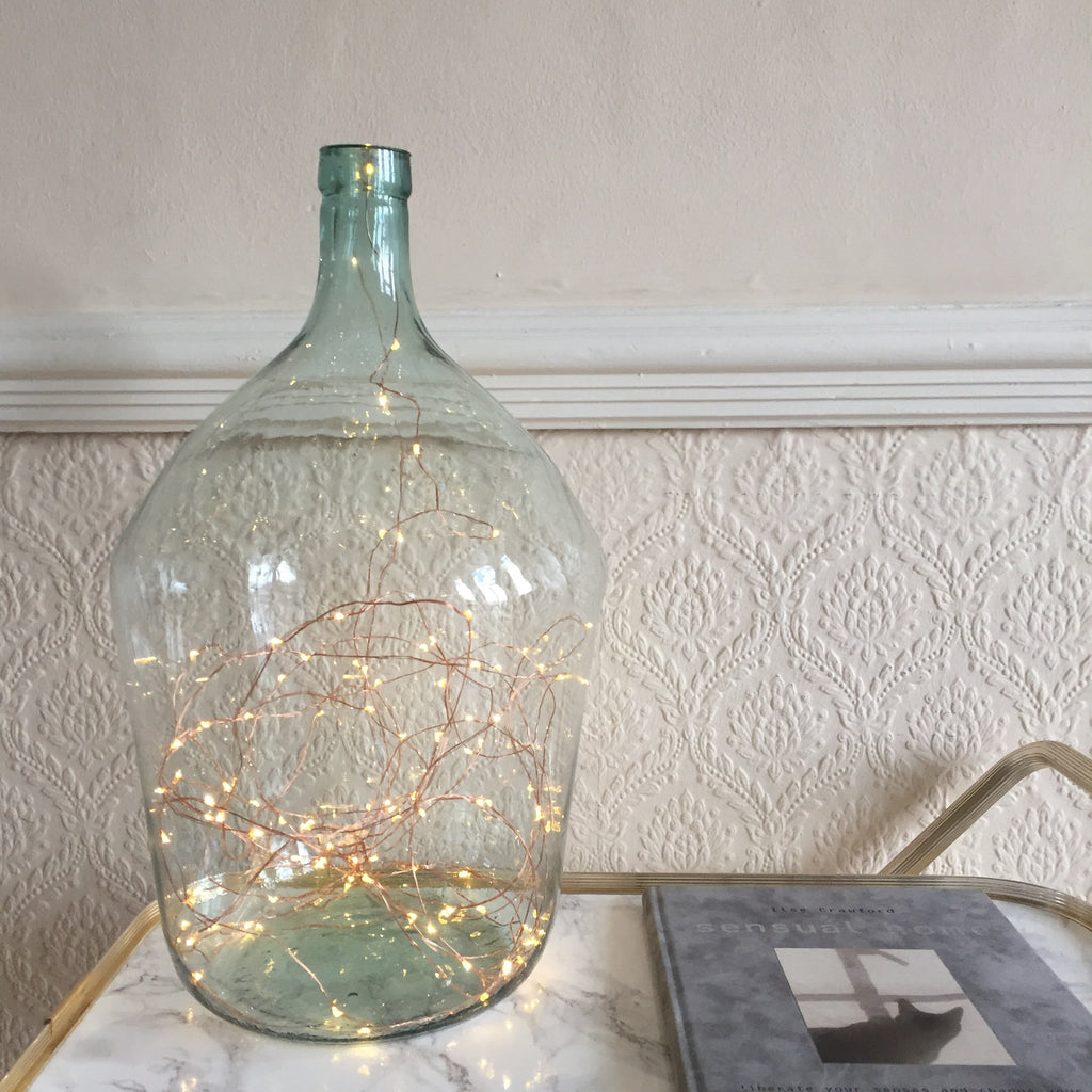 Vintage French Glass Bottle with Fairy Lights - Dame Jeanne Vintage avec Guirlande Lumineuse -Free delivery UK- Livraison Gratuite France