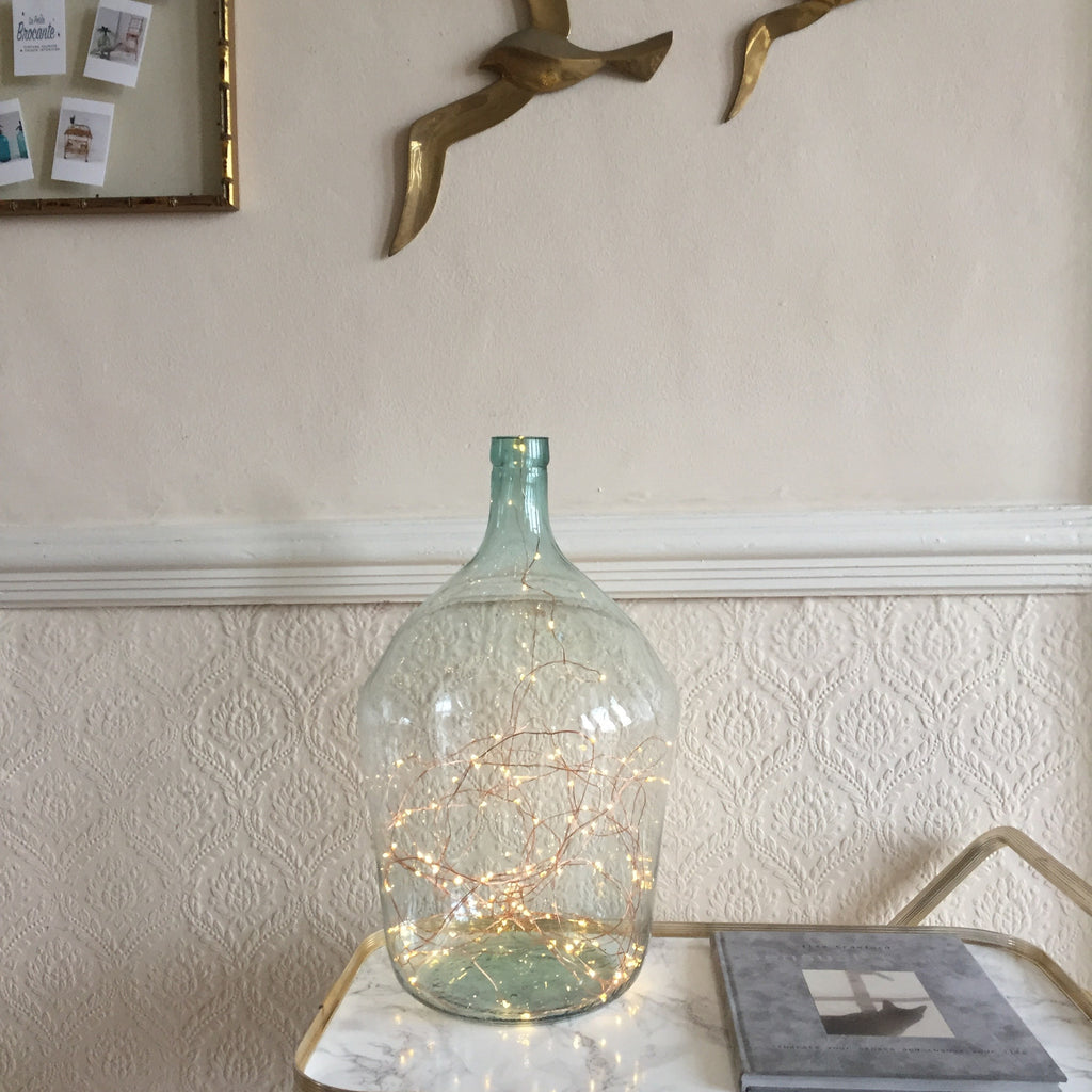 Vintage French Glass Bottle with Fairy Lights - Dame Jeanne ...