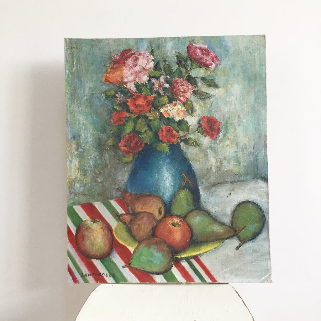 Charming Vintage French Painting Flowers - Charmante Nature Morte Fleurs et Fruits - Free delivery UK France