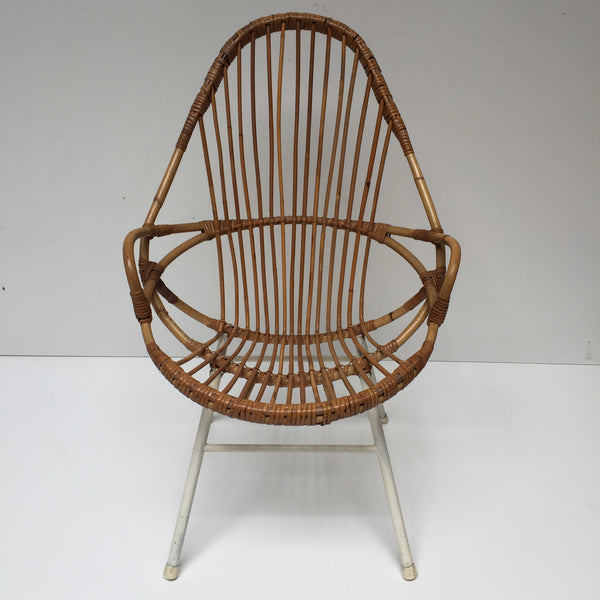 1960s Vintage Rattan Tall Wicker Chair Metal Feet - Fauteuil Rotin Vintage Haut Pieds Metal- Free Delivery UK-Livraison Gratuite France