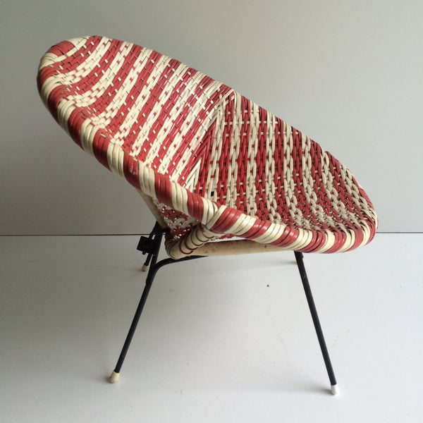 vintage satellite atomic wicker scoubidou kids chair