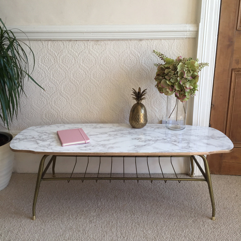 Marble Effect Vintage Coffee Table 1950s Table Basse